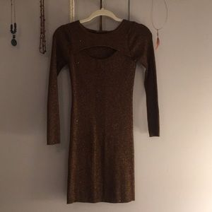 INC Brown with cooper sparkling dress